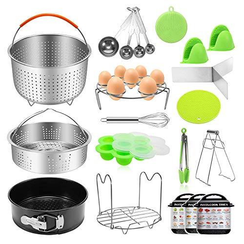 (Antimi 21PCS Pressure Cooker Accessories Set For Instant Pot 5,6,8 QT, Steamer Basket, Springform Pan, Egg Bites Molds, Steamer Rack, Dish Clip, Whisk, Oven Mitts&Trivet Mats&Scrub Pad)
