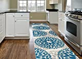 Rugshop Modern Floral Circles Design Area Rug Runner, 2′ x 7'2″, Blue Review