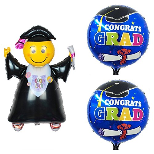 KATCHON 3 Graduation Balloons - 1 Black Jumping Grad 40 inches X-Large Size & 2 Royal Blue Congrats Grad L18 Inchs Mylar Inflatable Balloons