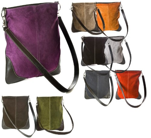 Big with Handbag Bag Shoulder Leather Real Br499 Messenger Cross Beige Faux Trim Body Suede R6rRzxpq