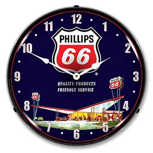 The Finest Website Inc. New L.E.D. Phillips 66 Gas Station 2 - Retro Vintage Style Advertising LED Lighted Clock - Ships Free Next Business Day to Lower 48 U.S. States