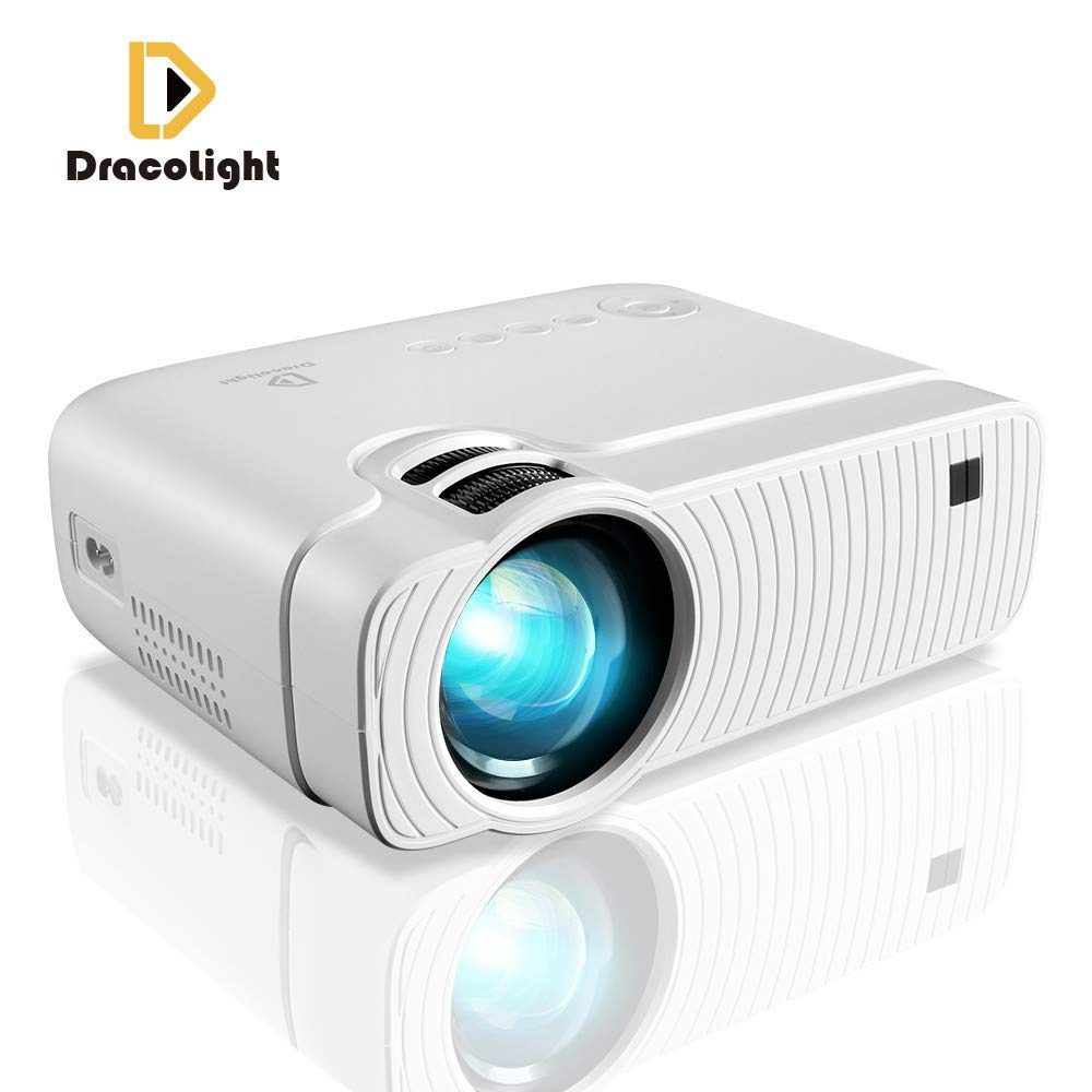 """DracoLight 3300 Lumens Mini Portable Projector, Ideal 180"""" Display 50000 Hours Lamp Life LED Video Projector Support 1080P, Compatible with USB/HD/SD/AV/VGA for Home Theater (White)"""
