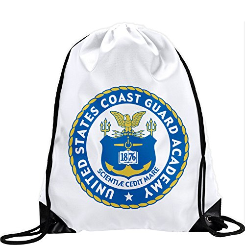 Cheap Express It Best Large Drawstring Bag with US Coast Guard Academy (USCGA), seal – Long lasting vibrant image
