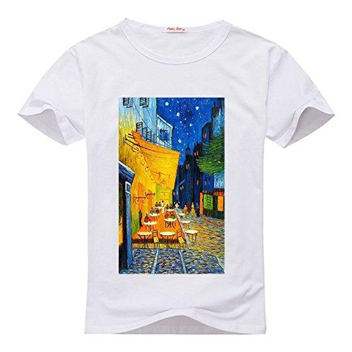 Classic Van Cafe DIY Vincent White by at Tshirt weileDIY Women's Gogh Custom Terrace Shirt Night T xpwHqyPY