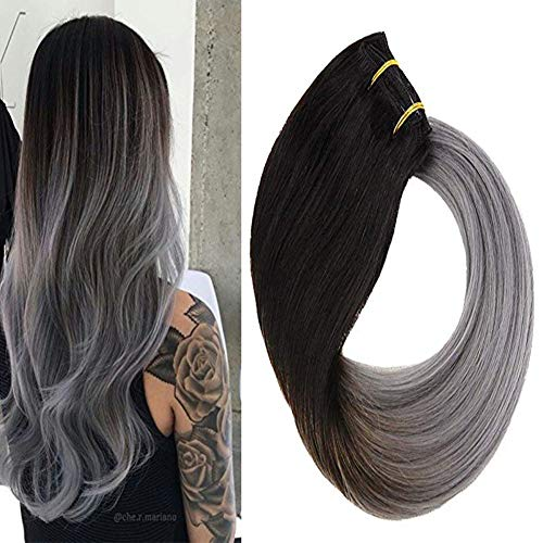 VeSunny Clip in Ombre Hair Extensions Natural Black Fading to Blue Gray Ombre Clip in Hair Extensions Remy Thick Human Hair 16inch -