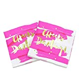 ''Cheers Darling!'' Gold Foil Beverage Napkins, Hot Pink. 2 Packs of 20 Napkins.