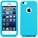 Importer520 (TM) Rubber Flexible Hybrid TPU Gel Skin Cover Carrying Case w/ Built in Screen Protector For Apple iPhone 5C Sprint, Verizon, AT&T Wireless - Aqua Blue