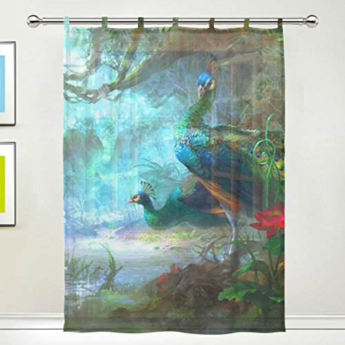 JSTEL Peacock Feathers Pattern Floral Print Tulle Voile Door Window Room Curtain Drape 1 Panel Sheer Scarf Valances Wide Width Gauze Curtain for Bedroom 55 x 78 Inch , Single panel (78 Curtain Panel)