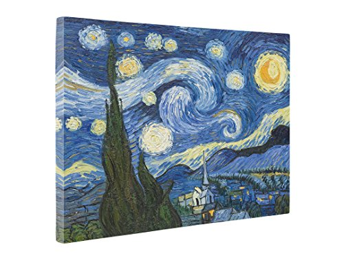 Niwo Art (TM - The Starry Night, by Vincent Van Gogh - Oil Painting Reproductions - Giclee Canvas Prints Wall Art for Home Decor, Stretched and Framed Ready to Hang (20 x 24 x 1.5 Inch)