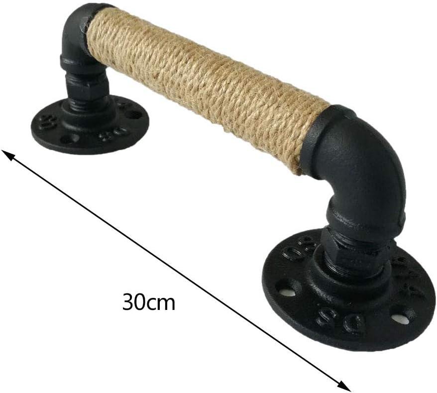 Cobeky Tirador para Muebles de Tubo de Estilo Industrial Manijas de Puerta de Madera Corredizas de Granero Manejar de Cuerda de Hierro Forjado Europeo Antiguo Negro Antiguo