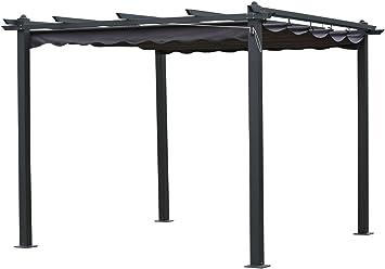 habitatetjardin Pergola de Aluminio Monica - 3 x 3 x Altura .2.2 m - Color Gris: Amazon.es: Jardín