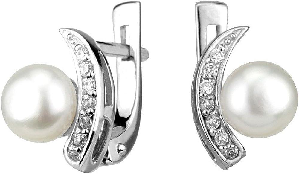 Silvego FNJE0608, Pendientes con perla blanca y circonitas plata de ley 925