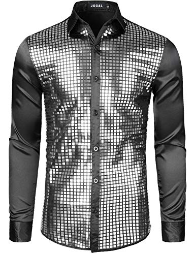 JOGAL Mens Dress Shirt Silver Sequins Long Sleeve Button Down 70s Disco Shirt Party Costume X-Large A348 Black