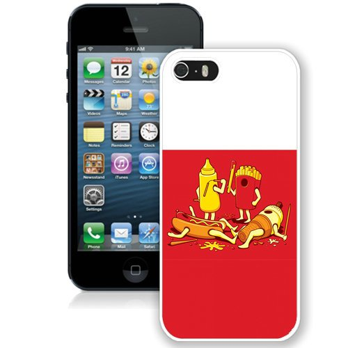 Coque,Fashion Coque iphone 5S Fast Food Battle blanc Screen Cover Case Cover Fashion and Hot Sale Design