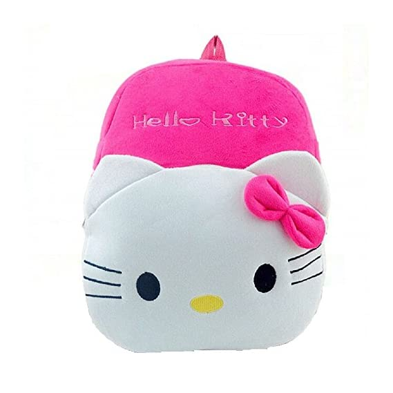 Blue Tree Plush Soft Hello Kitty Teddy Cartoon School Bag Backpack for Girls and Boys (Rani Pink, 3 to 5 Year)