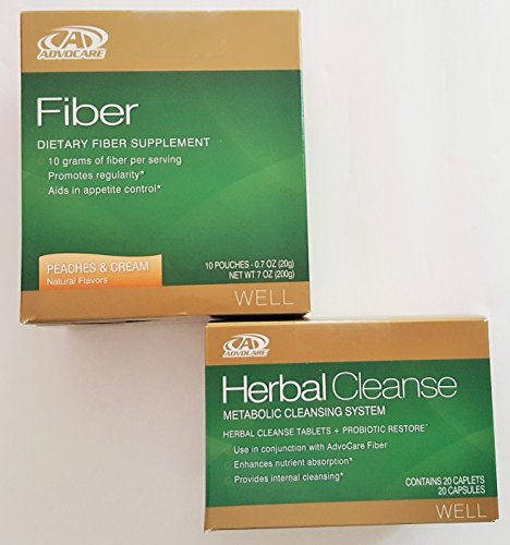 AdvoCare Herbal Cleanse & Fiber PEACHES and Cream (kit) | Herbal Cleanse 20 Capsules & 10 Fiber Pouches by Advocare