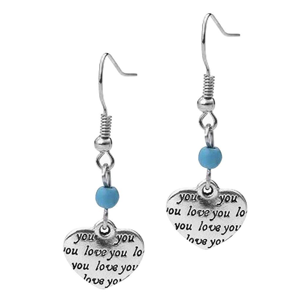 Generic Womens Vintage Heart Love You Dangle Drop Earrings Jewelry Gift 1Pair
