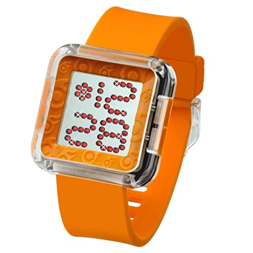 Plastic Transparent Watch (ZERONE Dazzled Transparent Orange Swarovski Crystal Digital Watch)