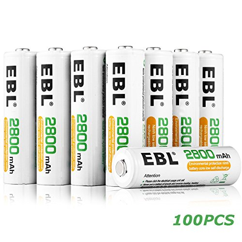 EBL AA Rechargeable Batteries Ni-MH 2800mAh, 100 Counts