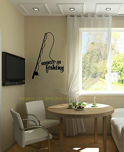 Wall Decor Plus More WDPM3504 Hooked on Fishing with Pole Wall Decal Lettering Vinyl Sticker Quote, 23x16, Black (Fishing Wall Decals)