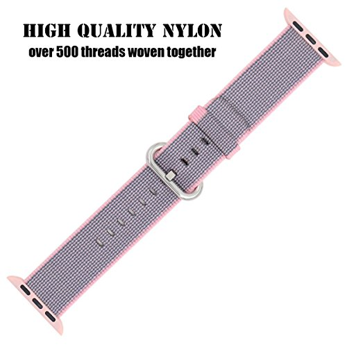 Apple Watch Strap 42mm, ZRO Premium Nylon Woven Smart Watch Replacement Wrist Watch Band with Adjustable Buckle for New Apple iWatch Series 2/ Series 1 (Light Pink&Midnight Blue)