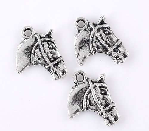 PEPPERLONELY 30pc Antiqued Silver Alloy Horse Head Animal Charms Pendants 21x18mm (7/8