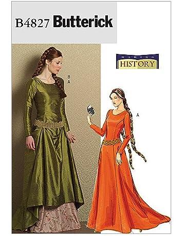 Butterick Making History - Patrón de Costura para Disfraz de Mujer 4827  Vestido y cinturón 68c19ed904e92