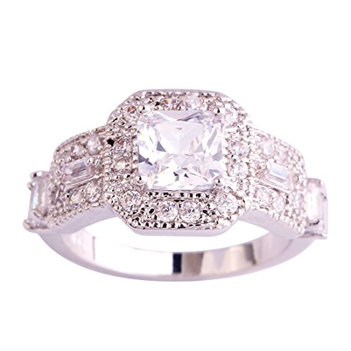 - Veunora 925 Sterling Silver Created White Topaz Filled Promise Engagement Ring for Women Size 7