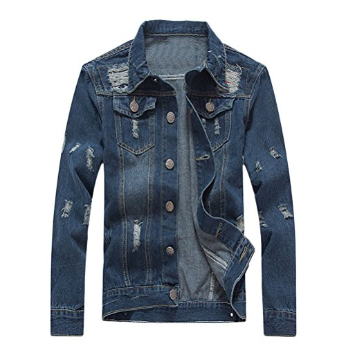 Closure Turn Cotton Long Down Zhhlinyuan Sleeve Blue Mens suave Jacket Blue Collar Button Front Denim RxzfqnHfw