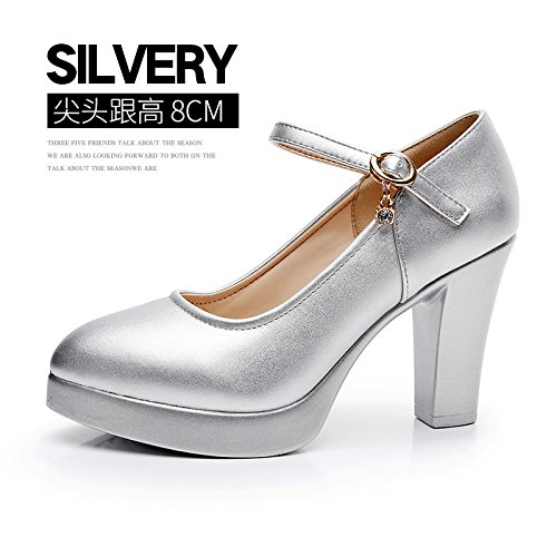 37 Amarre impermeables mujer 8cm modelo con con chica tacón alto high grueso solo Zapatos ranurado plata alto de heels de zapatos rWqXPaBpr