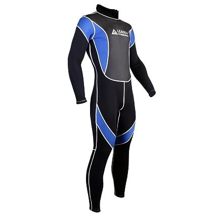 Leader Accessories 2.5mm Black Blue Men s Fullsuit Jumpsuit Wetsuit(Small) 3b86e5445
