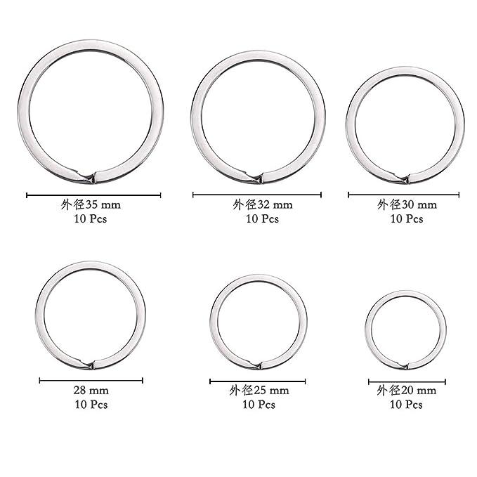 Schl/üsselanh/änger Ringe aus Edelstahl Autoschl/üsseln usw. Spaltringe mit verschiedenen Gr/ö/ßen von 20mm//25mm//32mm//35mm Hausschl/üsseln ATPWONZ 40 St/ücke Schl/üsselringe