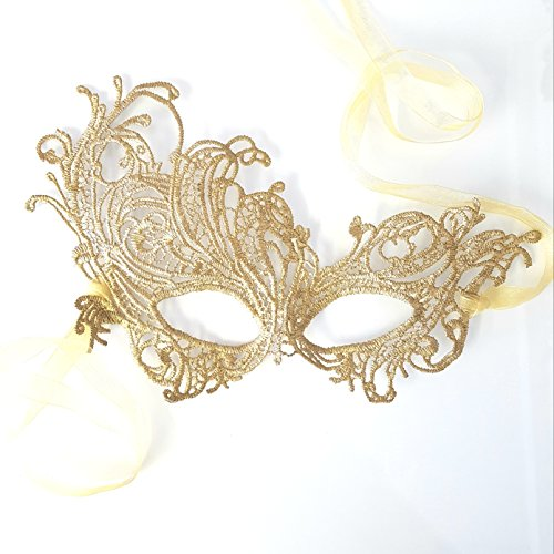 Gorgeous Gold Renaissance Lace Masquerade Mask by Samantha (Masquerade Masks Gold)