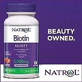 Natrol Biotin 5000 mcg Fast Dissolve Tablets, Strawberry, 250-Count, Extra Strength
