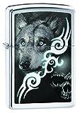 Zippo Wolf with Skull Pocket Lighter, High Polish Chrome