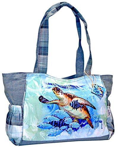 Harvey Guy Turtle - Guy Harvey Blue Ocean Sea Turtle Tote Bag