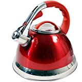 Prima 3.5L Stainless Steel Whistling Kettle with Silicone Handle in Red 11144C