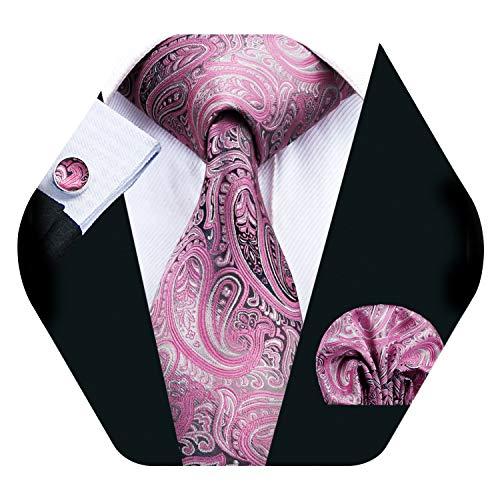 Barry.Wang Men Tie Set Paisley Silk Necktie Pocket Square Cufflinks Extra Long Tie