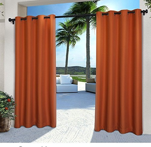 2pc 84 Mecca Orange Color Gazebo Curtains Set Pair, Indoor Pergola Drapes Porch Deck Cabana Patio Screen Entrance Sunroom Lanai Stripes, Dark Orange Solid Color Pattern Rugby Colors Outside