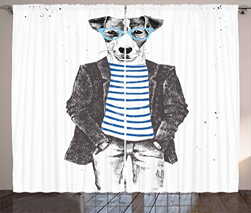 Ambesonne Quirky Curtains, Dressed Up Hipster Dog with Glasses Hand Drawn Sketchy Fashion Animal Fun, Living Room Bedroom Window Drapes 2 Panel Set, 108 W X 90 L Inches, Black White Blue]()