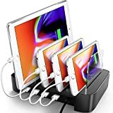 Cell Phone Charging Station For Multiple Devices - 4 Built-in USB Ports - Fast & Safe Phone Charging Hub, Smart IC - Charging Dock Organizer for Apple, Samsung, Windows
