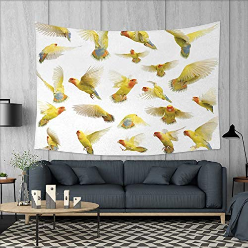 Anniutwo Birds Large tablecloths Collection of Flying Rosy Peach Faced Love Birds Wild Life Colored Feathers Wings Wall Hanging Tapestries W84 x L54 (inch) Multicolor by Anniutwo