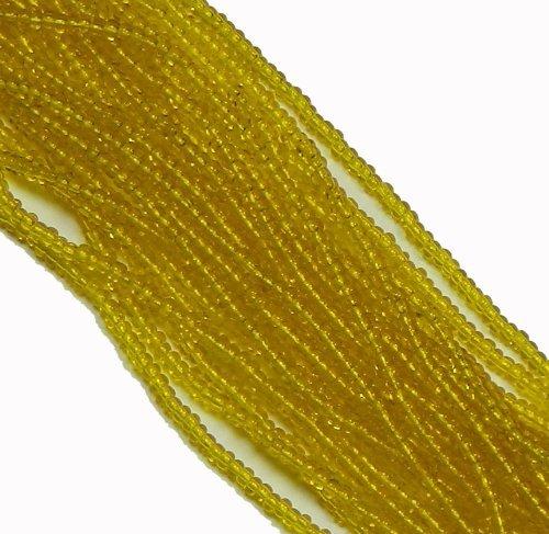 (Yellow Transparent Czech 8/0 Glass Seed Beads 1 Full 12 Strand Hank Preciosa Jablonex )