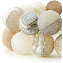 RUBYCA Round Dyed Electroplated Druzy Agate Quartz Crystal Gemstone Beads (1 Strand, Nude, 6mm)