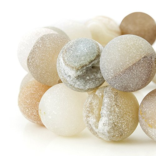 RUBYCA Round Dyed Electroplated Druzy Agate Quartz Crystal Gemstone Beads (1 Strand, Nude, 12mm) Colored Agate