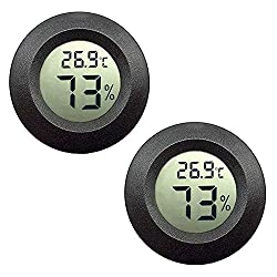 Jedew 2 Pack Mini Hygrometer Thermometer Digital Lcd Monitor Indoor Outdoor Humidity Meter Gauge For Humidifiers Dehumidifiers Greenhouse Basement Babyroom Fahrenheit Or Celsius Black 2 Pack