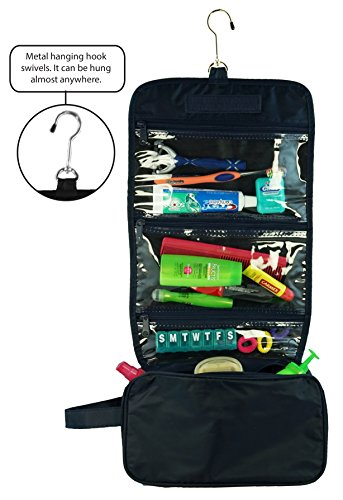 Ensign Peak Hanging Travel Bag with Toiletries Organizer and 360 degree Swivel Hook, Navy