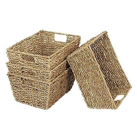 marrone chiaro Set di 4 cestelli portaoggetti rettangolari Seagrass con maniglie per inserti