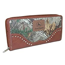 John Deere Women's Camouflage Zip-Around Wallet, Brown