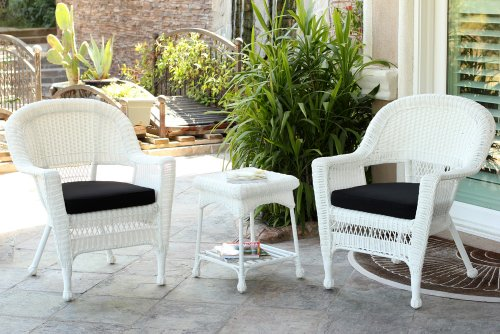 Jeco W00206_2-CES017 3 Piece Wicker Chair and End Table Set with Black Cushion White -